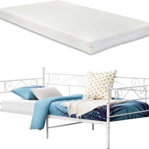 Eenpersoons slaapbank Kerava met matras 90x200 cm wit