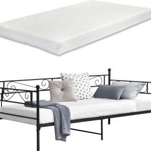 Eenpersoons slaapbank Kerava met matras 90x200 cm zwart