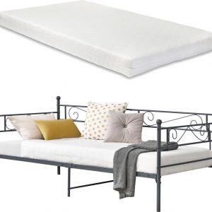 Eenpersoons slaapbank Kerava met matras 90x200 donkergrijs