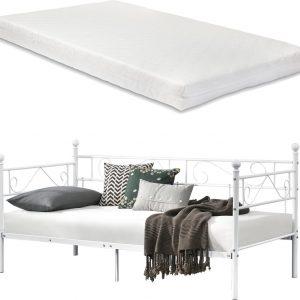 Eenpersoons slaapbank of 3-zitsbank en matras 90x200 wit