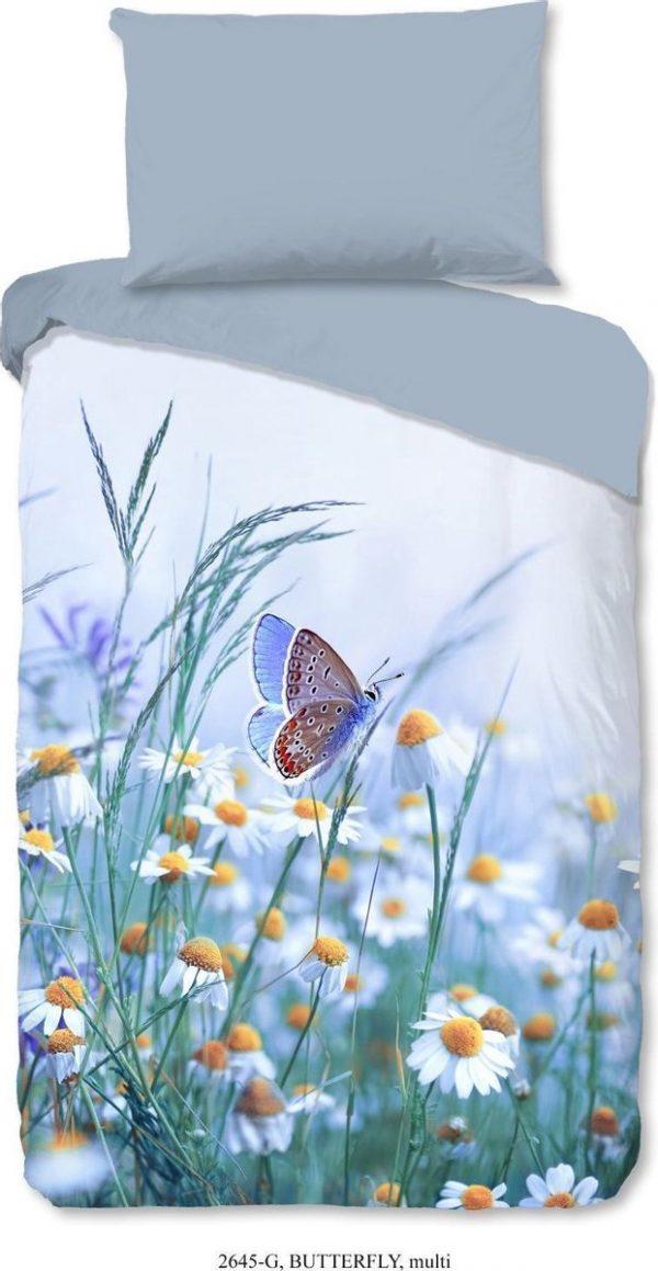 Good Morning Dekbedovertrek Butterfly 200 X 140 Cm Katoen Grijs