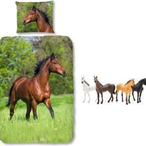 Good Morning Dekbedovertrek bruin Paard-140 x 220 cm, Paarden dekbed-katoen, incl. Paarden speelset 4 delig