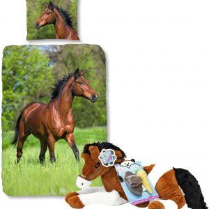 Good Morning Dekbedovertrek bruin Paard-140 x 220 cm, Paarden dekbed-katoen, incl. grote paarden knuffel - 60 cm -bruin/wit