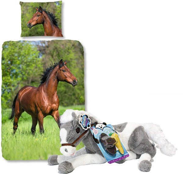 Good Morning Dekbedovertrek bruin Paard-140 x 220 cm, Paarden dekbed-katoen, incl. grote paarden knuffel - 60 cm -grijs/wit.