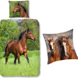 Good Morning Dekbedovertrek bruin Paard-140 x 220 cm, Paarden dekbed-katoen, incl. paarden Sierkussen 40x40
