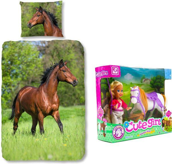 Good Morning Dekbedovertrek bruin Paard-140 x 220 cm, Paarden dekbed-katoen, incl. speelset Pop met Paard.