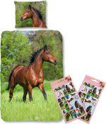 Good Morning Dekbedovertrek bruin Paard-140 x 220 cm, Paarden dekbed-katoen , met Paardenstickers set