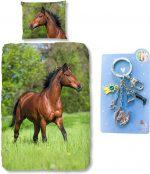 Good Morning Dekbedovertrek bruin Paard-140 x 220 cm, Paarden dekbed-katoen, met metalen sleutelhanger set blauw