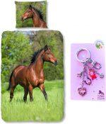 Good Morning Dekbedovertrek bruin Paard-140 x 220 cm, Paarden dekbed-katoen, met metalen sleutelhanger set roze