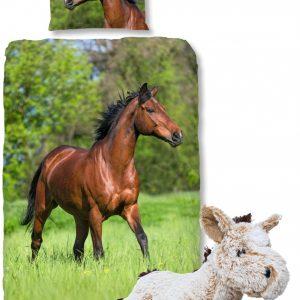Good Morning Dekbedovertrek bruin Paard-140 x 220 cm, Paarden dekbed-katoen, met zachte paarden-knuffel 32 cm Beige