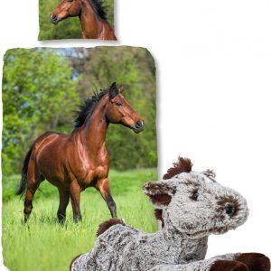 Good Morning Dekbedovertrek bruin Paard-140 x 220 cm, Paarden dekbed-katoen, met zachte paarden-knuffel 32 cm donker bruin