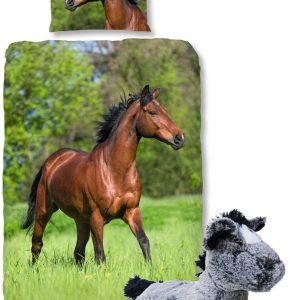 Good Morning Dekbedovertrek bruin Paard-140 x 220 cm, Paarden dekbed-katoen, met zachte paarden-knuffel 32 cm grijs