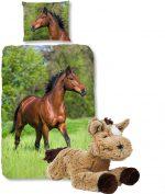 Good Morning Dekbedovertrek bruin Paard-140 x 220 cm, Paarden dekbed-katoen, met zachte paarden-knuffel 32 cm lichtbruin