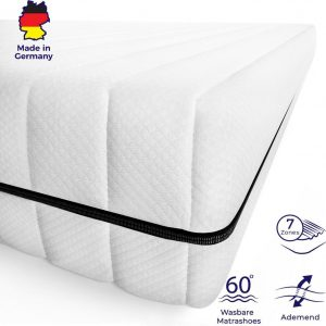 Matras - 80x200 - 7 zones - koudschuim - premium plus tijk - 15 cm - medium