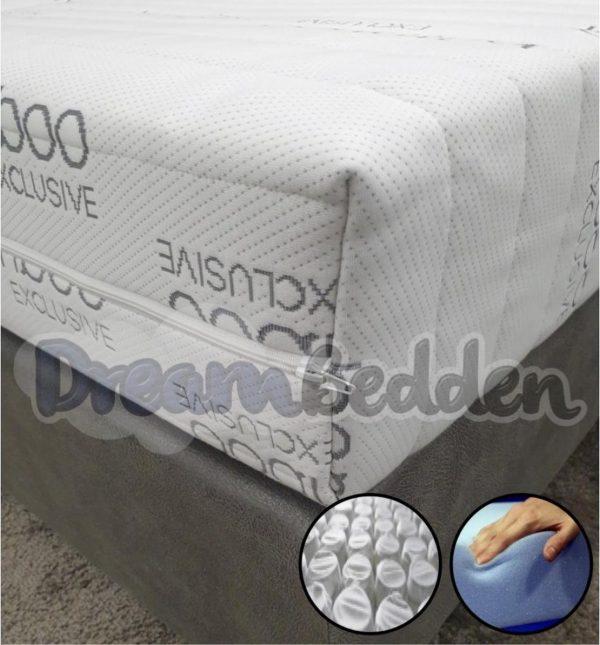 Matras 80x200 HR55 Koudschuim 9-zones pocketvering Bamboo Exclusive Ca. 21cm Dik