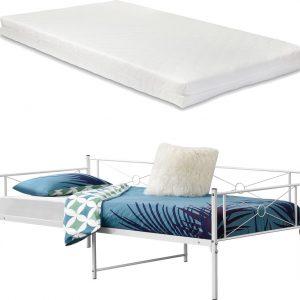 Metalen bed Alvesta met bedbodem en matras 90x200 cm wit
