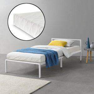 Metalen bed Zeus met bedbodem en matras wit 90x200 cm