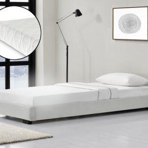 Modern bedframe kunstleer met matras 90x200 wit