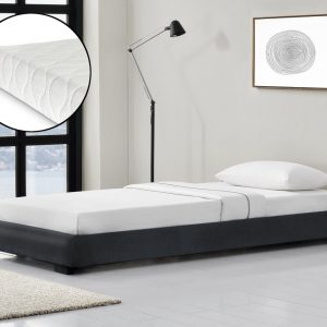 Modern bedframe kunstleer met matras 90x200 zwart