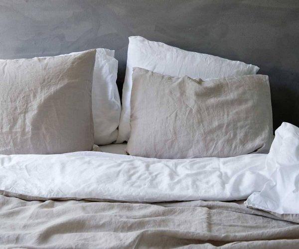 Passion for Linen Luxe dekbedovertrek Belle Linnen en katoensatijn, 140 x 220 cm, wit