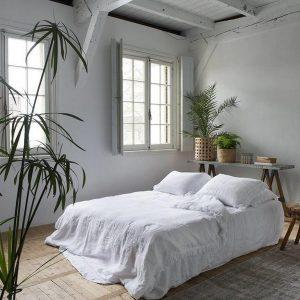 Passion for Linen Luxe dekbedovertrek Loulou Linnen en katoensatijn, 140 x 220 cm, wit