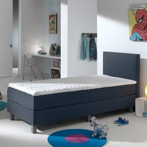 Primaviera Deluxe Kinderboxspring Comfort - Donkerblauw 90 x 200 cm, Topper: HR topper, Montage: Exclusief montage