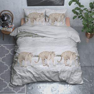 Sleeptime Elegance Snowy Tiger - Flanel 1-persoons (140 x 200/220 cm + 1 kussensloop) Dekbedovertrek