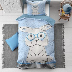 1-persoons kinder dekbedovertrek blauw met stippen, sterren en een lief groot konijn / haas met bril KATOEN 140 x 220 cm