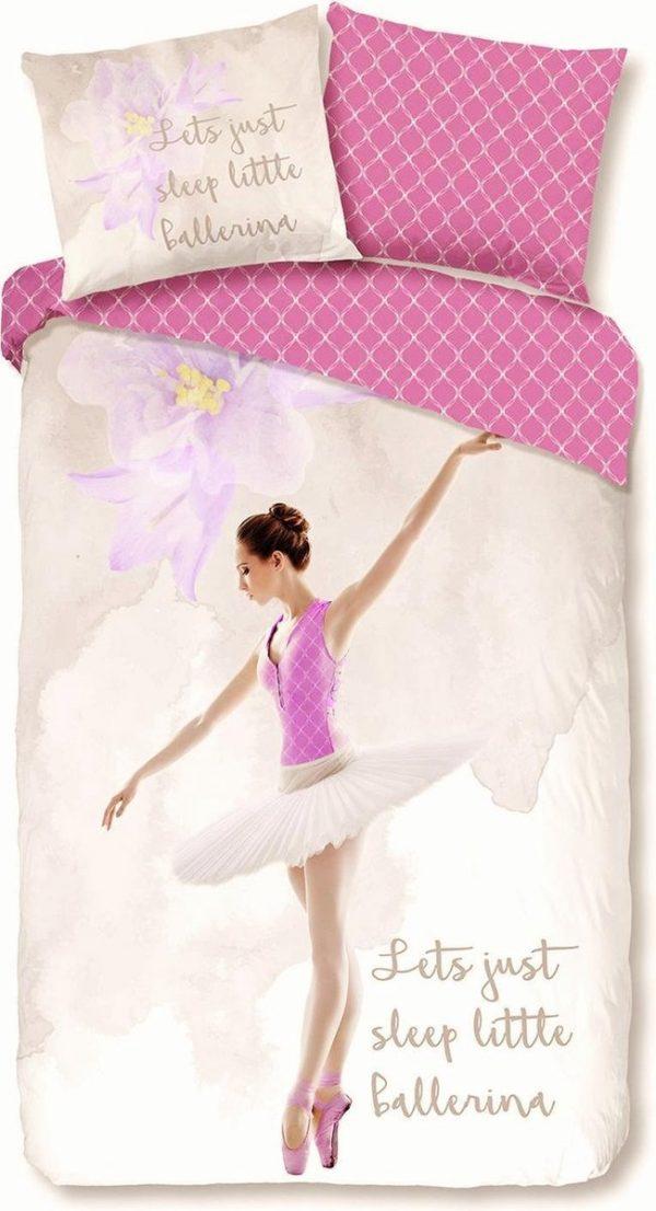 1-persoons meisjes dekbedovertrek wit met een lila bloem en sierlijk dansende ballerina in roze ballet pak met tutu KATOEN 140 x 220 cm