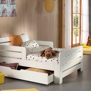 Bed Jumper Met Lade En Matras 140+60Cm - 90 x 200 cm - wit