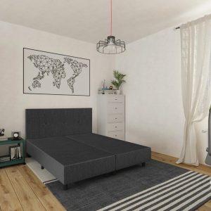 Boxspring Berlijn - Zonder matras - Antraciet - 160x200 cm