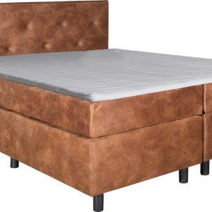 Boxspring Brighton Camel 80x220 compleet inclusief topdekmatras
