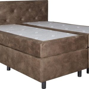 Boxspring Brighton Taupe 120x220 compleet inclusief topdekmatras