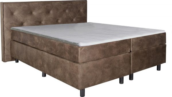 Boxspring Brighton Taupe 160x220 compleet inclusief topdekmatras