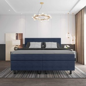 Boxspring DELTA PLUS COLOR - 180x200 - Donkerblauw - Tweepersoons