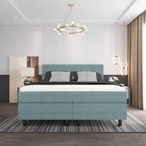 Boxspring DELTA PLUS COLOR - 180x200 - Lichtblauw - Tweepersoons