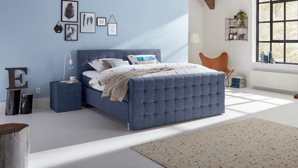 Boxspring Farini Verstelbaar Met Gestoffeerd Matras En Voetbord - 140 x 200 cm - blauw