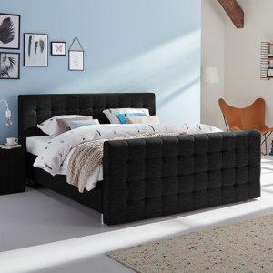 Boxspring Farini Vlak Met Bianco Matras En Voetbord - 160 x 220 cm - zwart