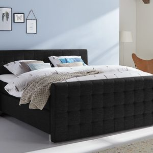 Boxspring Farini Vlak Met Gestoffeerd Matras En Voetbord - 160 x 220 cm - zwart