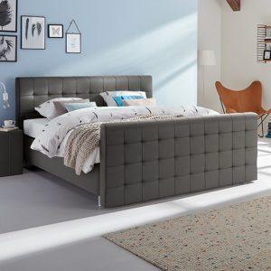 Boxspring Farini Vlak Met Silver Pocket Foam Matras En Voetbord - 140 x 210 cm - donkergrijs kunstleer