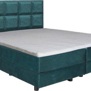 Boxspring Josh turquoise 80x220 compleet inclusief topdekmatras
