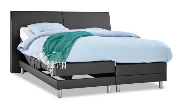 Boxspring Trevi Verstelbaar Met Silver Pocket Foam Matras - 140 x 200 cm - donkergrijs kunstleer