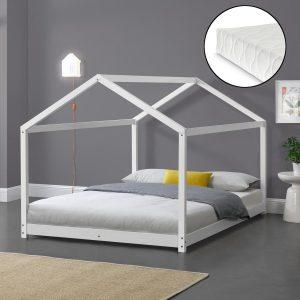 Kinderbed twijfelaar huisbed met matras 120x200 cm wit
