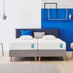 Tempur® Boxspring One™ Stitch Vlak - 140 x 200 cm - blue/stone grey