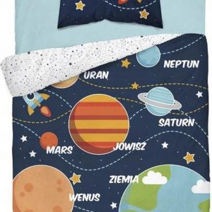 1-persoons dekbedovertrek donkerblauw / blauw met grote planeten, raketten en sterren in de ruimte glow-in-the-dark KATOEN 140 x 200 cm