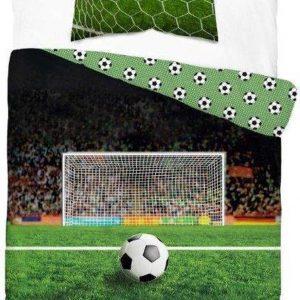 1-persoons dekbedovertrek groen met voetbal voor doel / goal in voetbalstadion / voetbalveld glow-in-the-dark 140 x 200 cm KATOEN