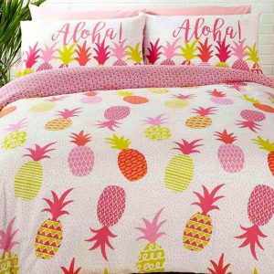 """1-persoons dekbedovertrek wit met gekleurde tropische ananassen / pineapple (zomerfruit) in roze en groen """"Aloha"""" 140 x 200 cm"""