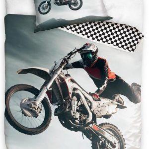 """1-persoons jongens dekbedovertrek """"motorcross"""" met stuntende motorrijder op crossmotor in grijs / zwart / wit KATOEN 140 x 200 cm"""
