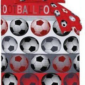 """1-persoons jongens dekbedovertrek rood / wit / zwart gestreept met grote voetballen """"football"""" CL 140 x 200 cm"""