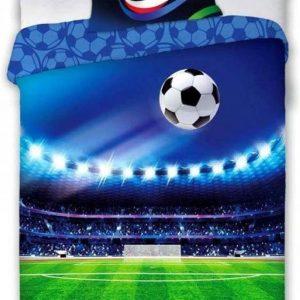 """1-persoons jongens dekbedovertrek """"voetbalstadion"""" blauw / groen met voetbalveld, lampen en voetbal KATOEN 140 X 200 CM"""